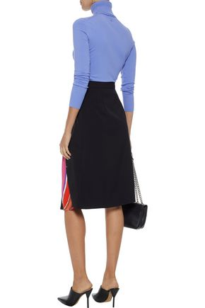 EMILIO PUCCI Printed satin-paneled silk-blend twill skirt