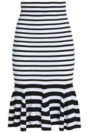 McQ Alexander McQueen Fluted striped wool skirt
