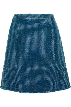 SANDRO Fringe-trimmed tweed mini skirt