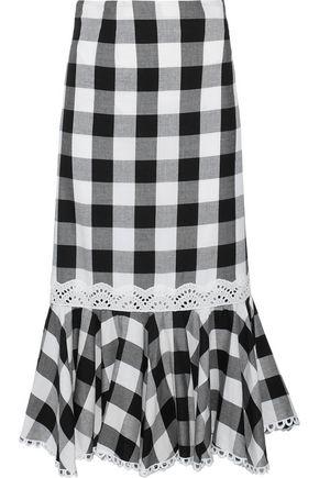 MARISSA WEBB Lou fluted gingham cotton-blend twill midi skirt