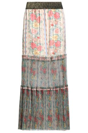 ANNA SUI Pleated floral-print satin-jacquard and tulle maxi skirt