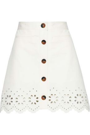 DEREK LAM 10 CROSBY Broderie anglaise-trimmed cotton-blend twill mini skirt