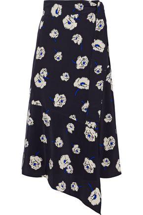DEREK LAM 10 CROSBY Asymmetric floral-print silk wrap skirt