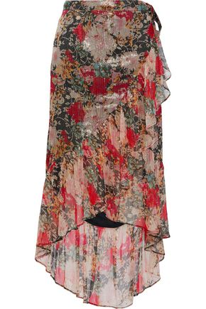 LOVE SAM Metallic ruffled printed georgette wrap skirt