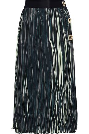 DEREK LAM 10 CROSBY Eyelet-embellished striped plissé midi skirt