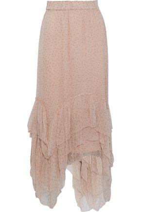 LOVE SAM Asymmetric printed georgette midi skirt