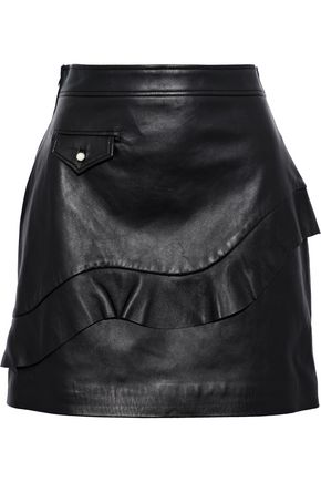 SANDRO Apollo ruffled leather mini skirt