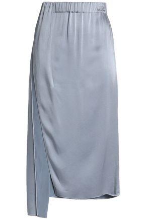 BRUNELLO CUCINELLI Asymmetric satin-crepe midi skirt