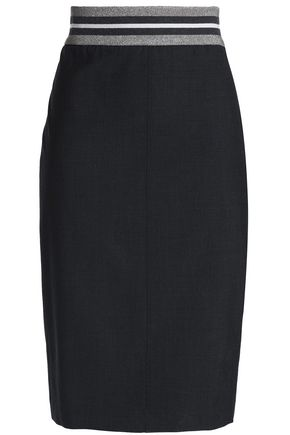 BRUNELLO CUCINELLI Ribbed knit-trimmed wool-blend skirt