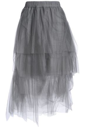 BRUNELLO CUCINELLI Asymmetric tiered tulle midi skirt