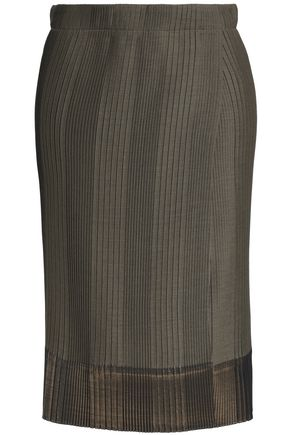 BRUNELLO CUCINELLI Wrap-effect pleated stretch-knit skirt