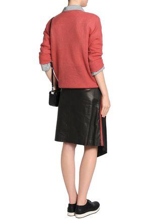 BRUNELLO CUCINELLI Asymmetric wrap-effect leather skirt