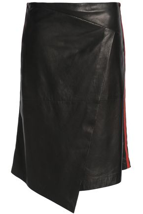 BRUNELLO CUCINELLI Asymmetric wrap-effect leather skirt