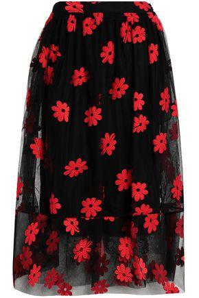 SIMONE ROCHA Embroidered cotton-blend tulle midi skirt