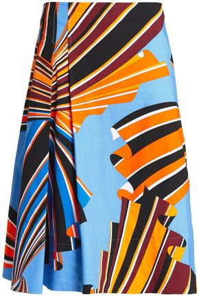 EMILIO PUCCI Printed stretch cotton-poplin poplin midi skirt