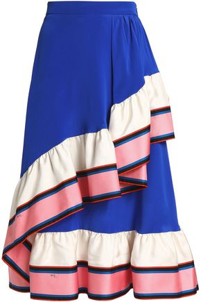 EMILIO PUCCI Wrap-effect paneled silk-twill and crepe de chine midi skirt