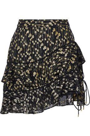 DEREK LAM 10 CROSBY Tiered fil coupé silk-blend chiffon mini skirt