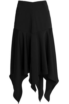 PAPER London Asymmetric floral-print crepe midi skirt
