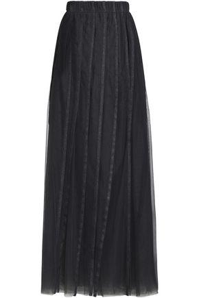 BRUNELLO CUCINELLI Metallic-trimmed pleated tulle maxi skirt