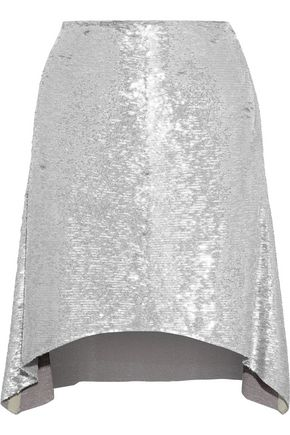 IRO Wadlow leather-trimmed sequined woven skirt