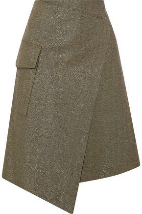 BRUNELLO CUCINELLI Wrap-effect metallic cotton-blend twill skirt