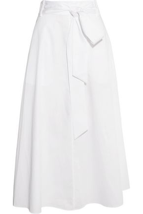 TIBI Cotton-poplin wrap midi skirt