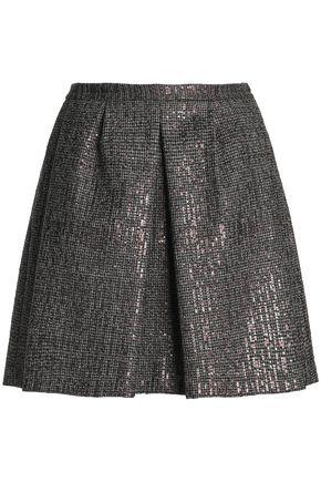BRUNELLO CUCINELLI Sequin-embellished houndstooth wool mini skirt