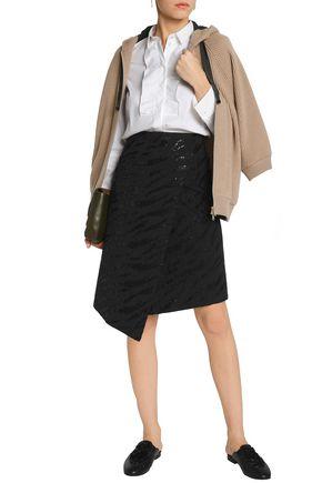 BRUNELLO CUCINELLI Asymmetric sequined wool and linen-blend skirt