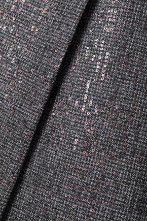 BRUNELLO CUCINELLI Asymmetric embellished houndstooth wool skirt