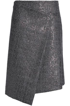 BRUNELLO CUCINELLI Asymmetric embellished houndstooth wool skirt