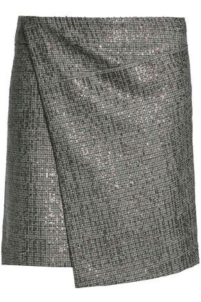 BRUNELLO CUCINELLI Wrap-effect embellished houndstooth wool mini skirt