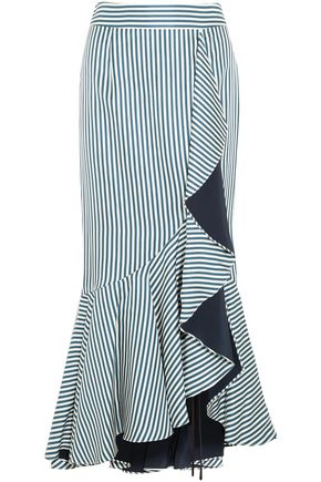 HELLESSY Striped ruffled silk-twill maxi skirt