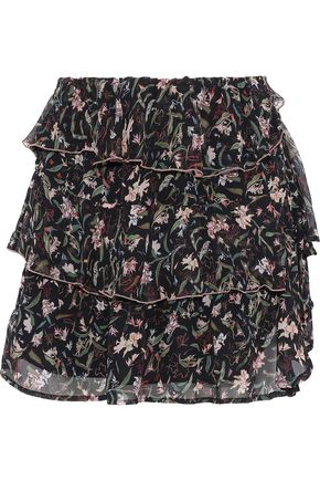 IRO Brooks tiered floral-print chiffon mini skirt