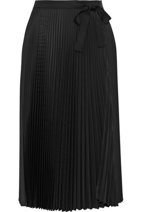 TOME Pleated twill wrap skirt