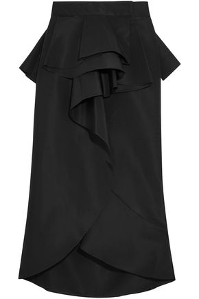 JOHANNA ORTIZ Asymmetric ruffled silk skirt