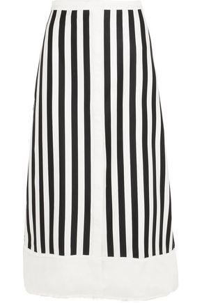 LA LIGNE Bardot twill-trimmed striped cotton-blend midi skirt