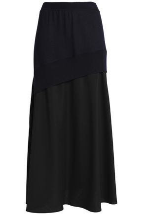 JIL SANDER Paneled wool and mohair-blend maxi skirt