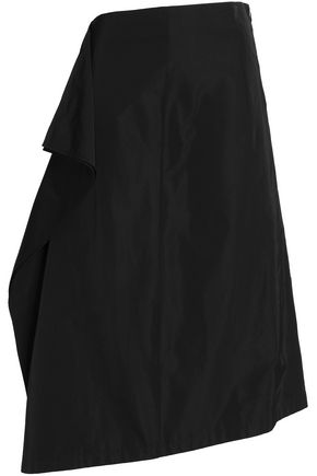 JIL SANDER Asymmetric draped satin midi skirt