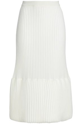 JIL SANDER Ribbed wool-blend midi skirt
