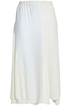 JIL SANDER Silk-paneled ribbed wool midi skirt
