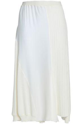 JIL SANDER Silk-paneled ribbed wool midi skirt