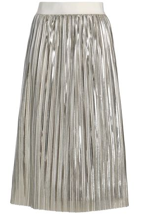 ALICE + OLIVIA Gathered lamé midi skirt