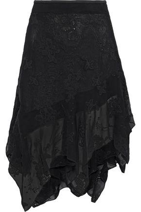 IRO Sadela asymmetric broderie anglaise chiffon skirt