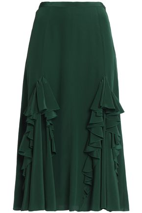 ROCHAS Ruffled silk crepe de chine midi skirt