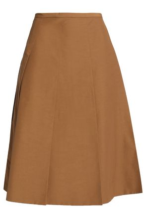 ROCHAS Pleated cotton-blend wrap skirt