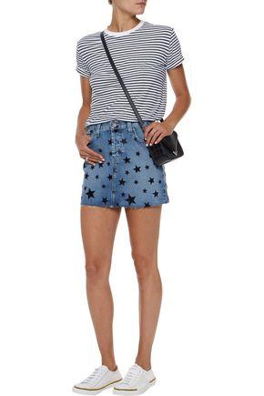 CURRENT/ELLIOTT The Cut Off flocked denim mini skirt