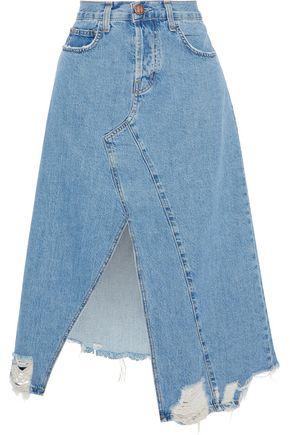 CURRENT/ELLIOTT The Recrafted distressed denim midi skirt
