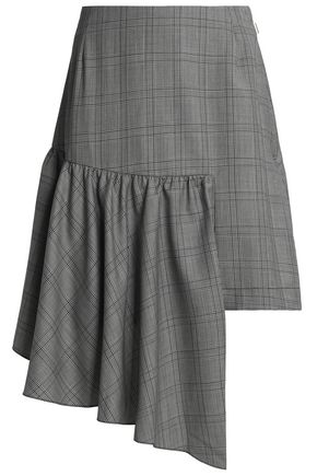 PAPER London Asymmetric Prince of Wales checked wool-blend mini skirt