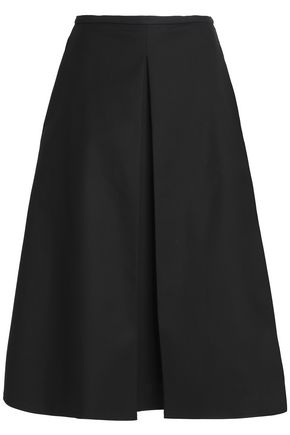 ROCHAS Pleated cotton-blend midi skirt