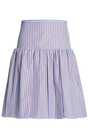 ROCHAS Gathered striped cotton-poplin skirt